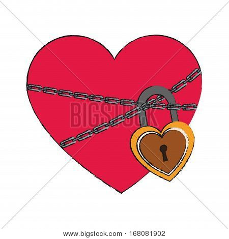 heart with chains and padlock icon over white background. vector illustration