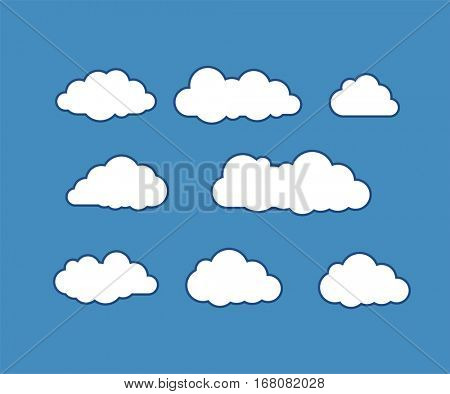 Cloud icons. Vector icon set. Vector illustration of clouds on blue sky.