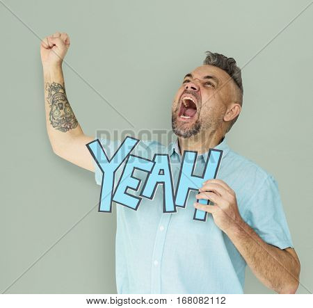Caucasian Man Shouting Positive Yeah