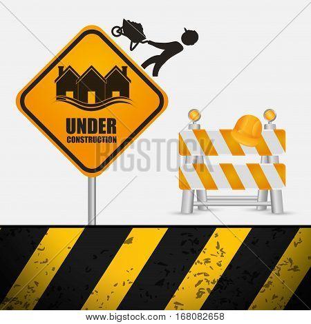 under construction sign barrier road helmet vector illustration eps 10