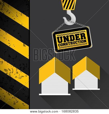 crane hang sing house under construction vector illustration eps 10