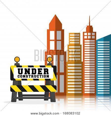 under construction barrier road building background vector illustration eps 10