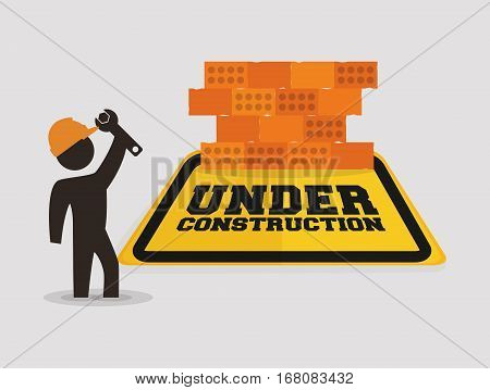 under construction with worker wrench brick wall vector illustration eps 10