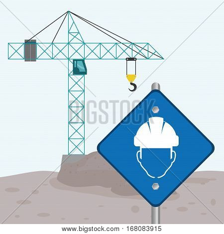 road sign faceless man crane cement under construction vector illustration eps 10