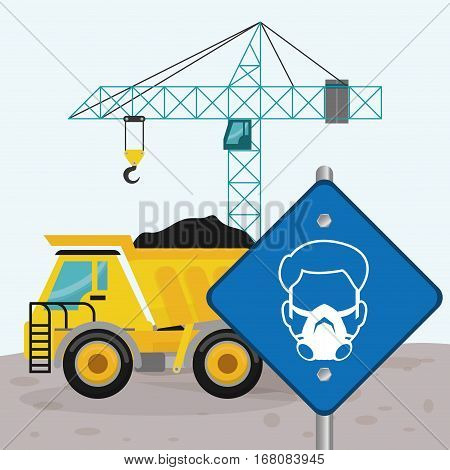 road sing man mask dump truck and crane construction vector illustration eps 10