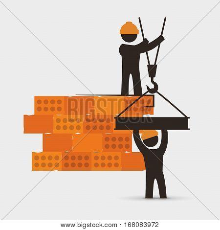 men construction brick wall crane cooperation vector illustration eps 10