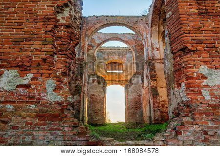 Ruined Walls Of The Church Of St. Nicholas In Belarus