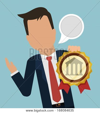 man business manager banking bubble speech vector illustration eps 10