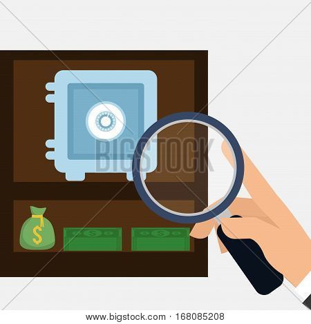 hand holding search safe box money bag vector illusrtration eps 10