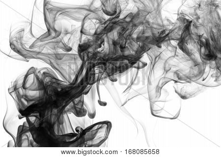 Abstract smoke Weipa. Personal vaporizers fragrant steam. The concept of alternative non-nicotine smoking. Black smoke on a white background. E-cigarette. Evaporator.