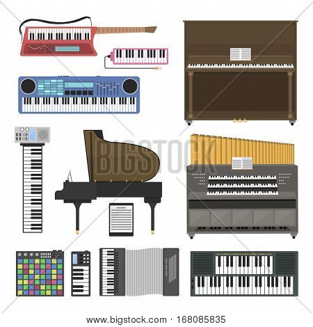 Keyboard musical instruments isolated on white background. Classical melody studio acoustic shiny musician equipment. Orchestra composer electronic sound vector tool.