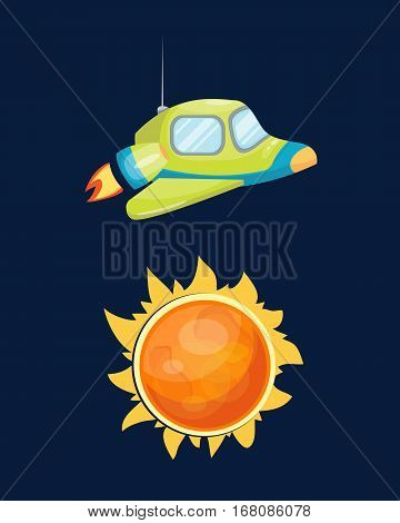 Astronomy space rocket cartoon vector illustration. Future innovation technology space ship icon. Spacecraft cosmos exploration shuttle. Travel startup symbol.