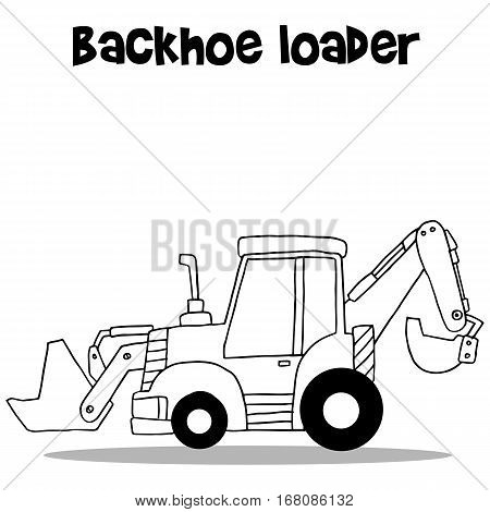 Backhoe loader for industry cartoon hand draw