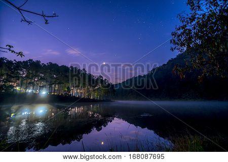 Stars Night Sky At Pang Ung Lake, Pang Ung