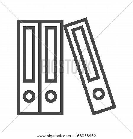 File Folder Thin Line Vector Icon Isolated on the White Background.