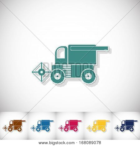 Combine-harvester. Flat sticker with shadow on white background. Vector illustration