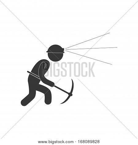 worker mining pick axe helmet light figure pictogram vector illustration eps 10