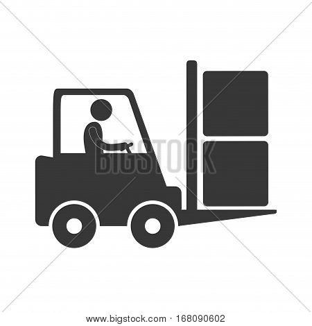 worker driving forklift truck delivery box figure pictogram vector illustration eps 10