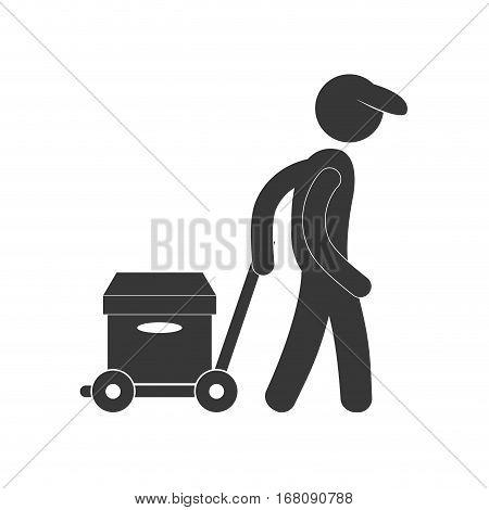 delivery man hand car box figure pictogram vector illustration eps 10