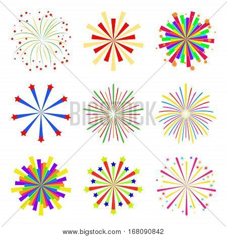 Colorful fireworks set isolated on white background, vector illustration. Holiday and party firework icons