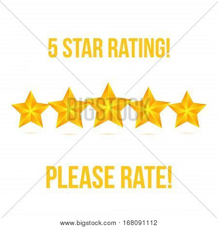 Five Star isolated on white background. Rating Stars Vector illustration