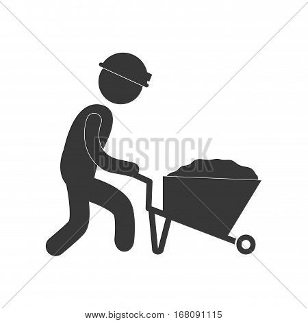 worker pushing wheelbarrow mine work figure pictogram vector illustration eps 10