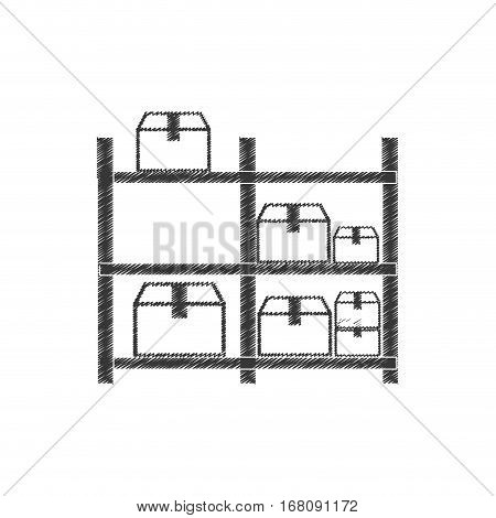 drawing warehouse storage boxes pictogram vector illustration eps 10