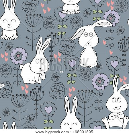 Vector seamless pattern with bunny and flowers