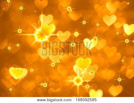 Heart background boke photo, bright yellow color. Abstract holiday, celebration and valentine backdrop.