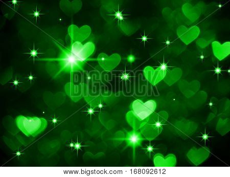 Heart background boke photo, dark green color. Abstract holiday, celebration and valentine backdrop.