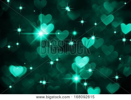 Heart background boke photo, dark cyan color. Abstract holiday, celebration and valentine backdrop.