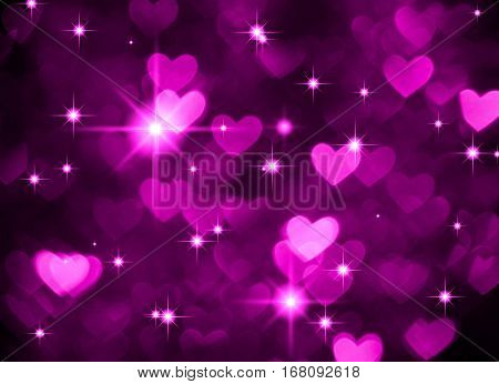 Heart background boke photo, dark violet color. Abstract holiday, celebration and valentine backdrop.