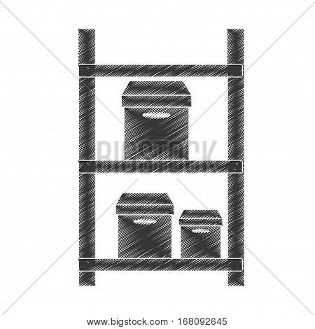 drawing warehouse shelve boxes cargo pictogram vector illustration eps 10