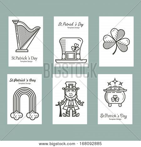 St. Patrick s Day set in a linear style cards