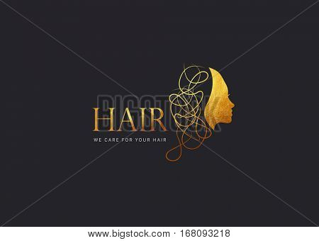 GOLDEN TEXTURE, MODERN HAIR LOGO, BLACK BACKGROUND
