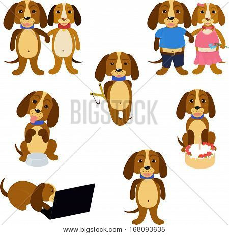 Funny cartoon brown long-eared dogs set isolated on white