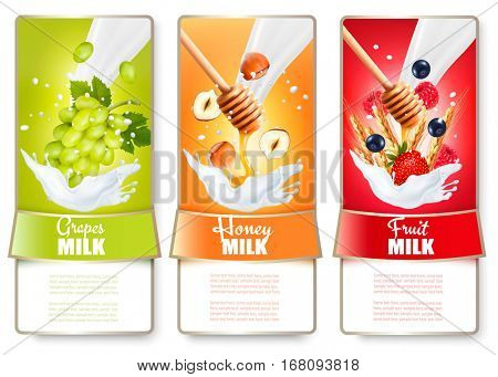 Set of three labels of fruit and berries in milk splashes. Craps, strawberry, raspberry,  blueberry, honey, nut. Vector.