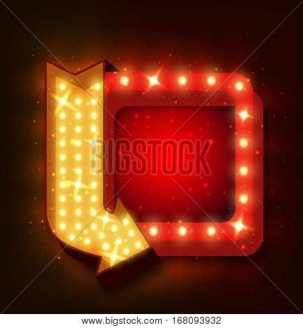 Neon sign with arrow and glowing light background for your sale banners, sale flayers or advertising