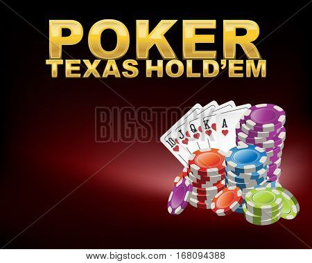 Poker Texas hold em with casino chips and cards on red desk