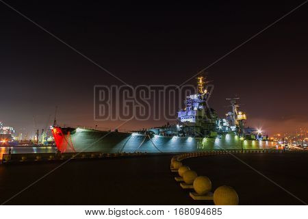 Novorossiysk Russian federation - June 20 2016 Moored cruiser Mikhail Kutuzov in the port in the night.