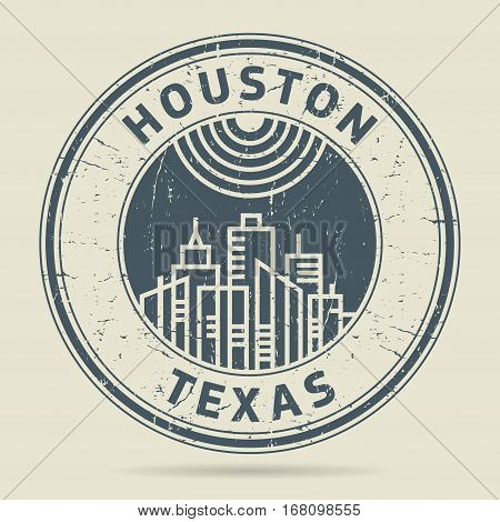 Grunge rubber stamp or label with text Houston Texas written inside vector illustration
