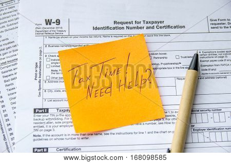 W-9 tax form as a business concept with pan