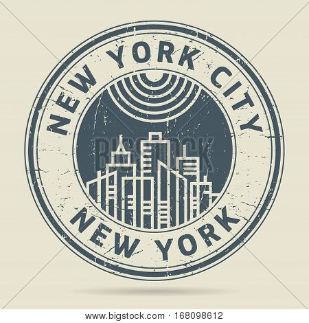 Grunge rubber stamp or label with text New York City New York written inside vector illustration