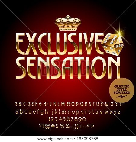 Vector royal casino golden emblem Exclusive sensation. Set of letters, numbers and symbols. Contains graphic style.