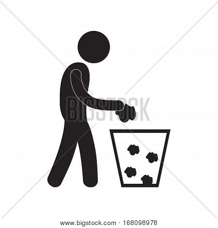 man throwing trash can pictogram vector illustration eps 10