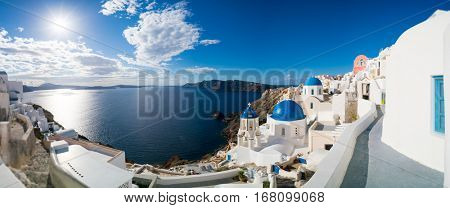 Oia village panorama, view of Ia town, Santorini island, Greece