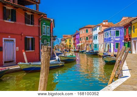 BURANO ITALY - AUGUST 5 2015: View of Burano Italy an island with colorful architecture in the Venetian Lagoon.