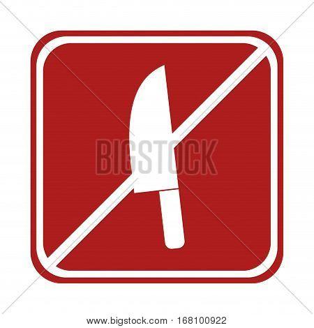 restricted knife kitchen cook element square sign vector illustration eps 10