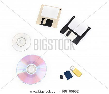 set of computer data storage media floppy disks CD/DVD flash drive