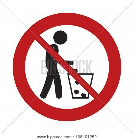 prohibited man throwing trash can sign road vector illustration eps 10